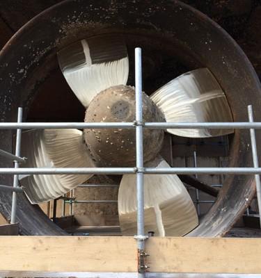 Repair and polish of propeller in situ at Nigg Bay Dock