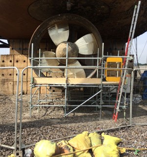 oilrig thruster blades repaired in situ to ABS classification standards at nigg dry-dock Cromarty